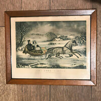 Antique Currier Ives Road Winter Christmas picture Lithograph framed victorian