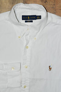 Polo RALPH LAUREN Men 16 40-41 Slim Fit Solid White Button DRESS Shirt EUC B35