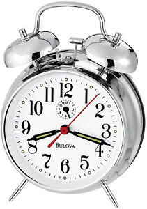 Bulova Bellman II Analog Chrome Finish Metal Bell Alarm B1827