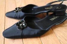 stunning CHANEL grosgrain floral slingback heel shoe size 37.5 us 7.5 (TAC600