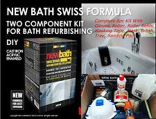 COMPLETE 8PC KIT NEW BATH SWISS FORMULA 2K ENAMEL PAINT BATH REPAIR REFURBISHIN