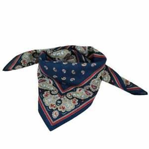 Navy Blue Paisley Bandana Neckerchief - 100% Cotton - Wrist Wrap Hair Band