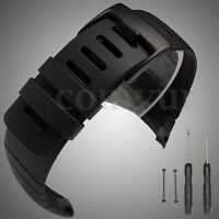 All Black Rubber Watch Band Strap + Lugs Adapters For Suunto Core SS014993000