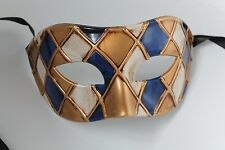 QUALITY BLUE & ANTIQUE IVORY/GOLD HARLEQUIN VENETIAN MASQUERADE PARTY EYE MASK