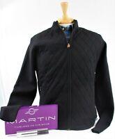MARTIN Zegna Baruffa Italian Merino Full Zip Quilted Sweater NWT BLACK