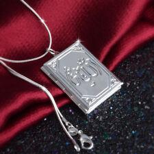 UK Rectangle ARABIC TOTEM925 Sterling Silver Photo Locket Pendant Necklace Lady