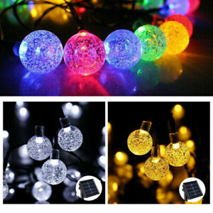 Solar Garden Lights 20 30 50 LED Retro Bulb Ball String Light Outdoor Fairy Lamp