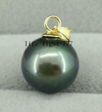 REAL AAA++  natural 9.5-10mm black green round Tahitian pearl pendant 14K