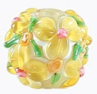 10pcs handmade Lampwork glass round Beads yellow flower 15mm