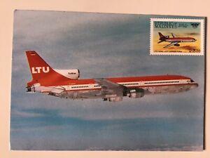 LTU Lockheed Tristar, 1995 Vintage Aeronautical Postcard, Maldives Stamp, 1628