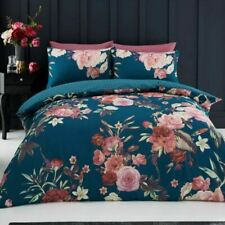 Flora Double Duvet Cover Set Teal Bedding Flowers Roses - 2 in 1 Design