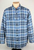 LL Bean Mens Medium Blue Plaid Fleece Lined Flannel Button Up Shirt Long Sleeve
