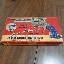 Vintage Gene Autry Gold 50 Shot Western Repeater Toy Cap Gun WITH ORIGINAL BOX