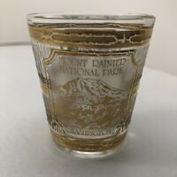 Vintage souvenir Frosted Embossed Gilded MOUNT RAINIER SHOT GLASS