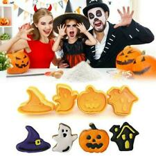 4Pcs/Set Halloween Cookie Mould Biscuit Stamp 3D Plunger DIY Tools Baking Y2O2
