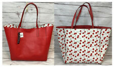 Large Red & Cherry Print Reversible Tote Purse Bag