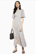 TOPSHOP AUSTIN Star Print Angel Sleeve Midi Dress 12 Brand New Wedding Guest
