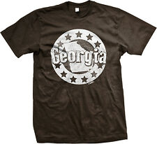 Georgia Stars Map Pride Peach State Atlanta ATL Empire State South Mens T-shirt
