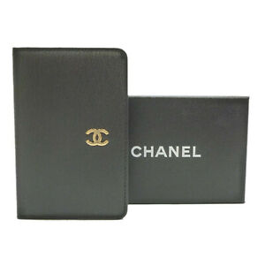 Authentic CHANEL CC Logo Mini Agenda Day Planner Cover Black Leather #S306031