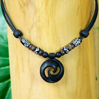 Halskette Halsband Lederkette Surferkette Maori Koru Herrenhalskette Damenkette