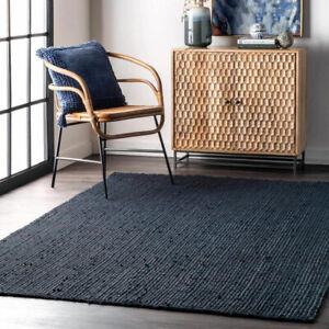 Area Rug 100% Natural Jute Braided Style Reversible Modern Living Room Carpet