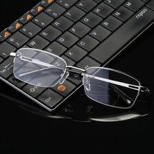 Mens Bifocal Reading Glasses Half Rimless Readers Metal Rectangular +1.0 ~ +4.0