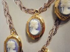 12 PC LOT Vintage Gold Plated Blue & Red Lockets w/ White Face Lady Cameos