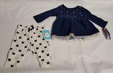 *New Infant Girls Blue Cherokee Dress & Bloomers w Animal Print Pants 0-3 Months