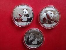 Drei Jahrgänge 10 Yuan Silber China Panda 2017+2016+2015 top!