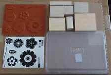 New 7pc Stampin Up Petal Pizzazz Flower Floral Gerber Daisy Rubber Stamp Set