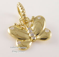 DECORATIVE BUTTERFLY Authentic PANDORA SHINE Yellow GOLD Plated Pendant 367962CZ