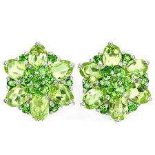 Sterling Silver 925 Genuine Chrome Diopside & Peridot Floral Stud Earrings