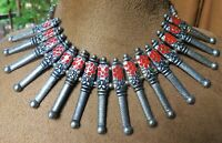 Indian Designer Afghan Oxidized Silver Ethnic Fashion Jewelry Chain Necklace Set