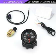 Universal 2Inch 52mm 7-Color LED Car Oil Pressure Gauge Oil Press Meter 0-100PSI