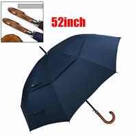 "52"" Double Canopy Auto Open Golf Umbrella(Wooden J Handle) Oversized Unisex Cane"