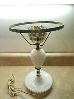 "Vintage Hobnail White Milk Glass Electric Table Lamp Milk Glass Base 8"" Top"