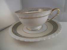 Vintage K & A Krautheim Selb Bavaria GermanyTeacup Tea Cup & Saucer Blue Net Web