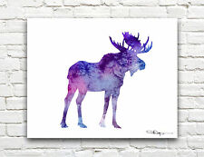 Purple Moose Abstract Watercolor Painting 11 x 14 Art Print by Artist DJ Rogers