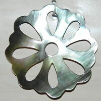 P2185 Black Lip Shell 42mm Carved Flower Mother of Pearl Pendant Focal Bead