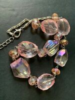Sparkle pink faceted clear lucite beaded collar statement necklace