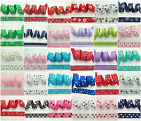 "NEW 1 5 10 Yards 1"" 25mm Printed Christmas Grosgrain Ribbon Hair Bow DIY Sewing"