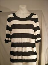 Jacqui E Ladies Knitted Top in a Black and White Hooped Design Size M - BNWTO