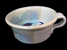 Large Mug Cup Pottery Multi Colored Shades Blues Glazed Artist Signed Reyes