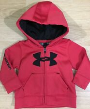 Under Armour Full Zip Hoodie Baby Toddler Size 3-6 Months Red And Black