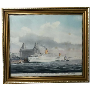 Watercolour Painting RMS Empress of England & Britain Liner Ships Liverpool Port