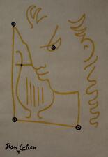 Fine Portrait ink illustration drawing, Marked, signed, Jean Cocteau