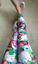 OS LULAROE HOILDAY CHRISTMAS leggings white Elephant presents pink