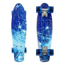 Retro 22'' Cruiser Skateboard Complete Deck Mini Plastic Skate Board, Blue Sky