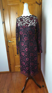 Wallis Size 12 Smart Evening Party Occasion Wedding Black and Red Lace Dress