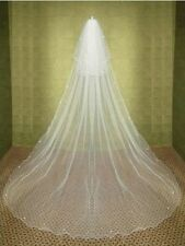 "2 Tier Light Ivory 28"" Blusher 110"" Pencil Trim Cathedral Wedding Veil W5-"